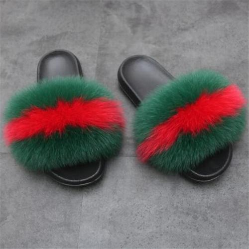 Popular Multicolor Real Fox Fur Slippers