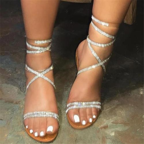 Lace-Up Ankle Strap Open Toe Cross Strap Sandals