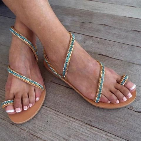 Flat Heel Holiday Boho Toe Ring Sandals