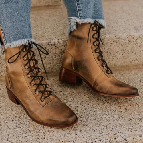 Vintage Artificial Leather Lace-up Jodhpur Boots Zipper Women Block Heel Booties