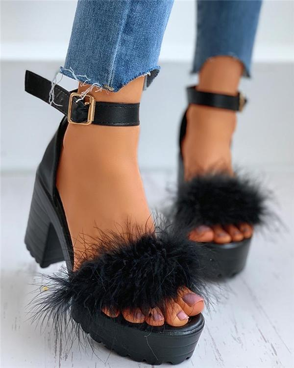 Open Toe Chunky Heel Line-Style Buckle Ankle Strap Platform Sandals