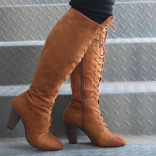 Womens Chunky Heel Daily Lace-Up Boots