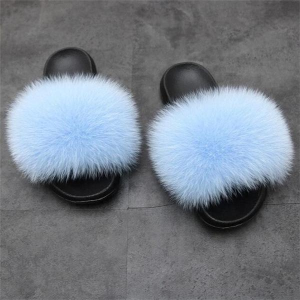 Popular Real Fox Fur Slippers Slides