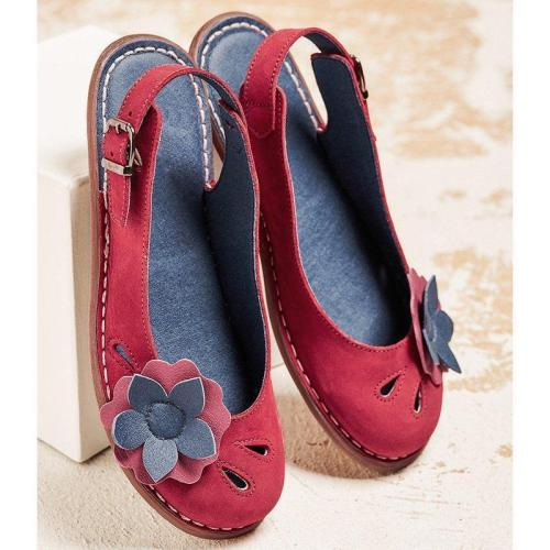 WOMEN ADJUSTABLE BUCKLE SOFT SLIP-ON CASUAL FLATS