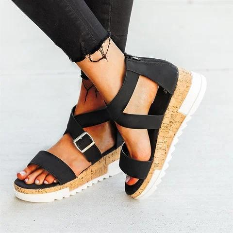 Artificial Leather Adjustable Buckle Sandals