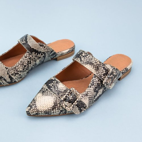 Pointed Toe Flat Snakeskin Slippers