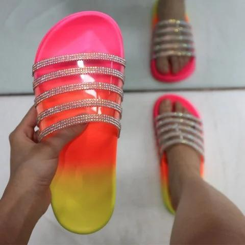 Multi-color Slip-On Rhinestone Flat Heel PVC Slippers