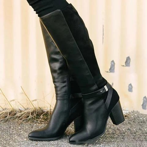 Plus Size Vintage Leather Zipper Chunky Heel Knee Boots