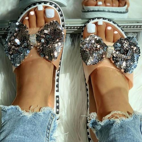 Women Summer Sequins Bowknot Flat Slippers