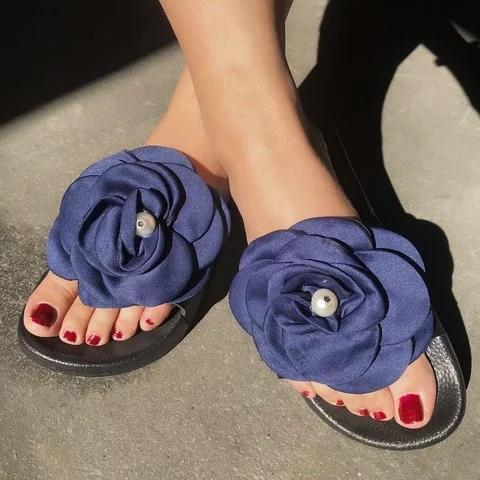 Women Sunmmer Slip-on Flower Slipper