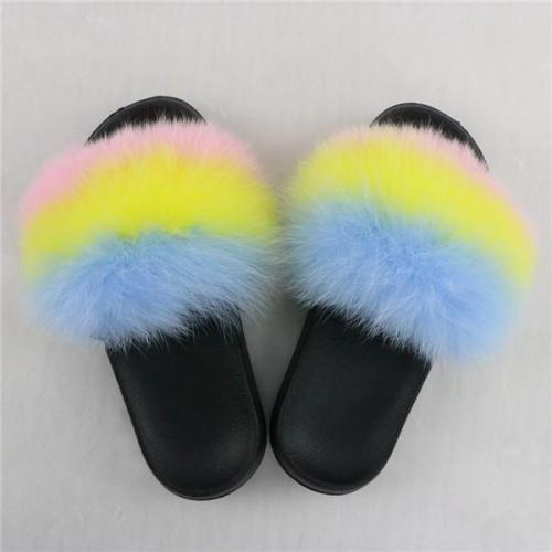 Popular Colorful Mix Fur Slides Slippers