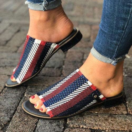 STRIPES LOW HEELS CASUAL SIMPLE SANDALS WOMEN