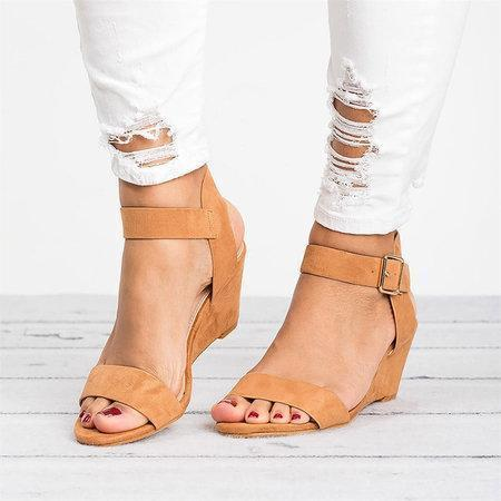 Women Plus Size Wedges Adjustable Buckle Wedge Sandals