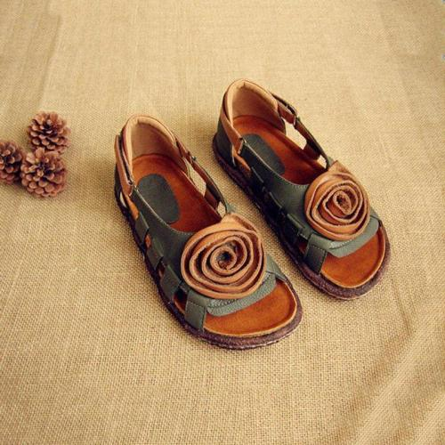 Women Handmade Hollow-out  Flat Heel Date Sandals