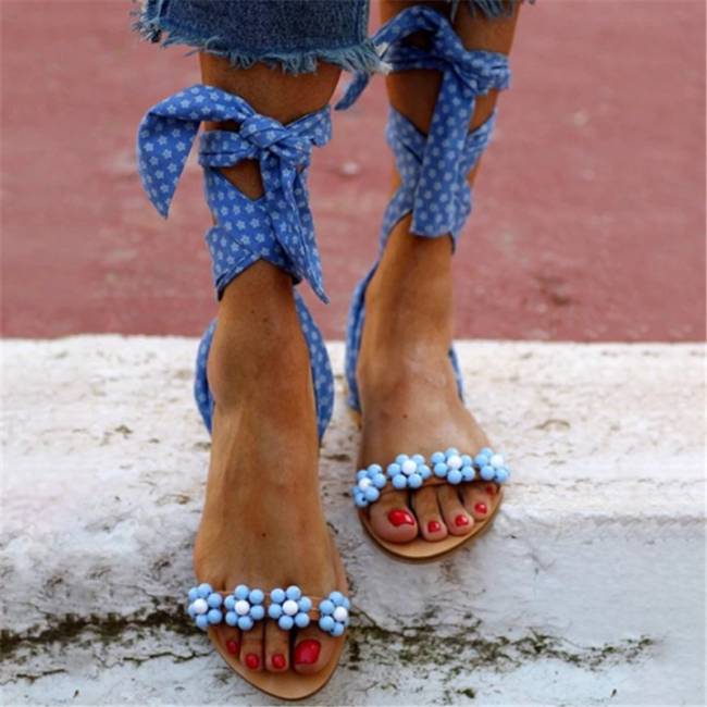 Flat With Open Toe Lace-Up Ankle Strap Cross Strap Casual Sandals