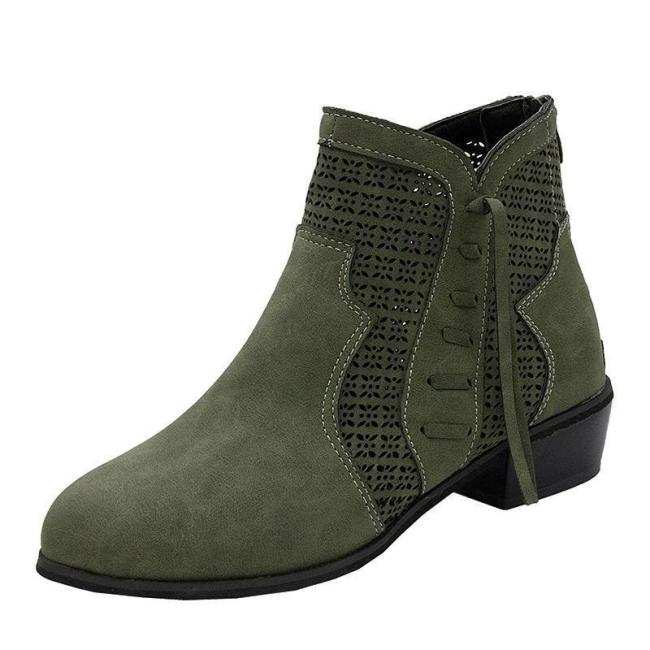 Fashion Hollow Out Breathable Plain Round Toe Boots