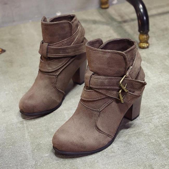 Coffee Plus Size Spring/Fall Adjustable Buckle Suede Chunky Heel Boots