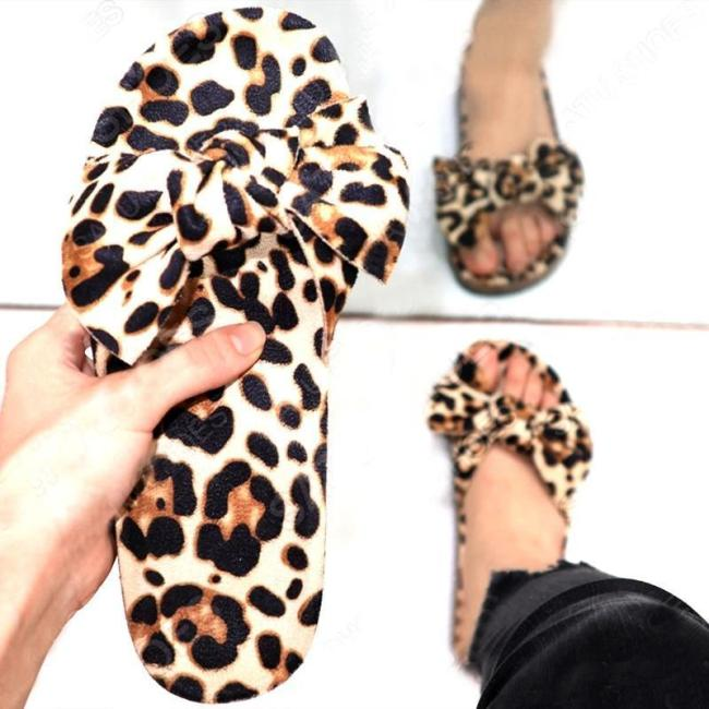 Artificial suede leopard flat heel open toe bow slippers