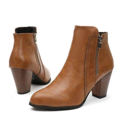 Womens Chunky Heel Booties Side Zipper Ankle Boots