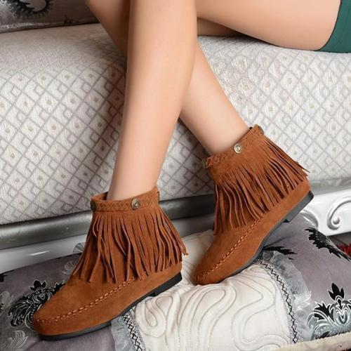 Winter Tassels Plus Size Round Toe Boots