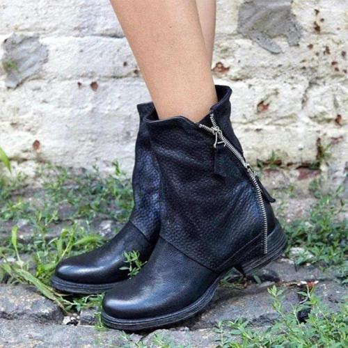Women Retro Casual Zipper Spring/Fall Pu Chunky Heel Ankle Boots