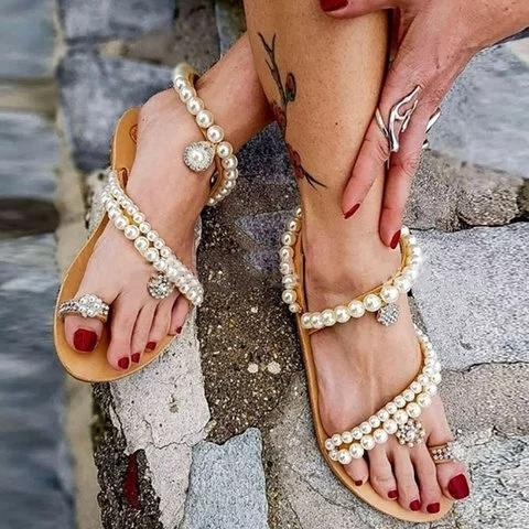 Women Thong Sandals Casual Beading Flat Heel Summer Pu Shoes