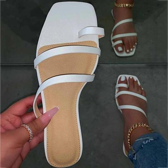 Flat With Slip-On Toe Ring Summer PVC Slippers