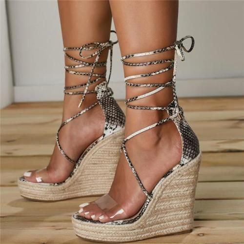 Women Platform Lace Up Sandals