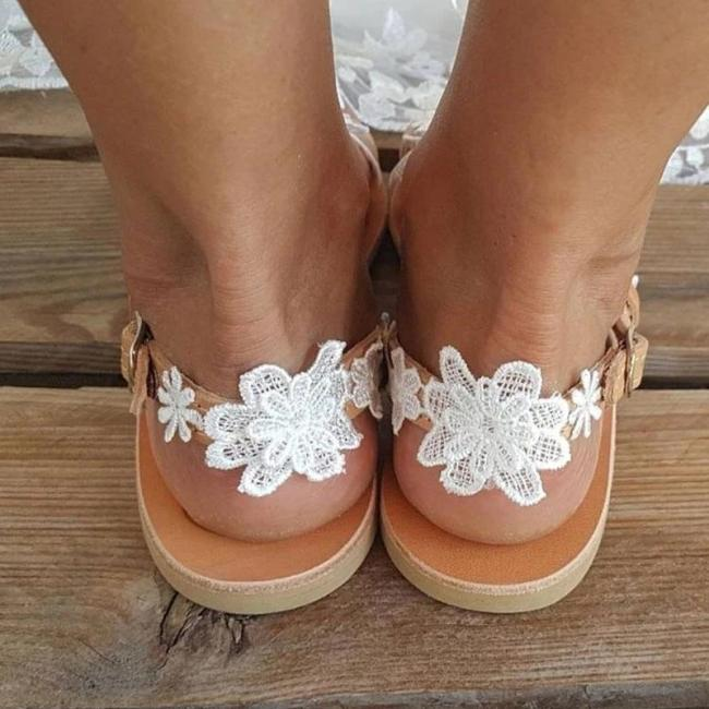 Women Wedding Lace Flower Flip-flop Slip On Sandals