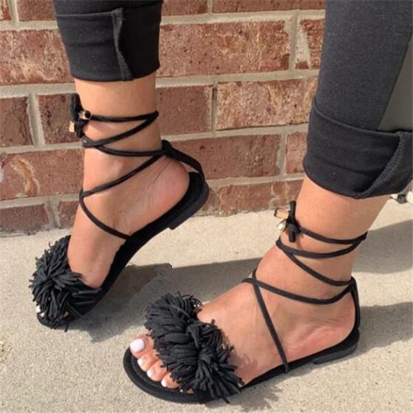 Open Toe Lace-Up Flat With Lace-Up Sexy Sandals