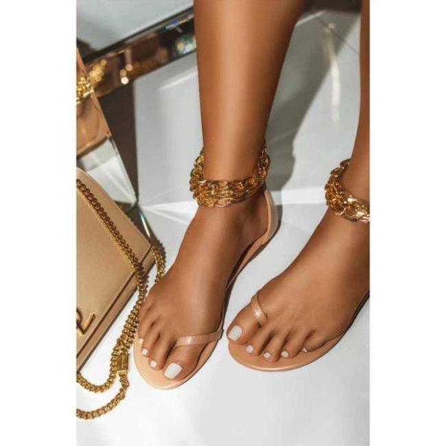 Leather Flat Heel Sandals
