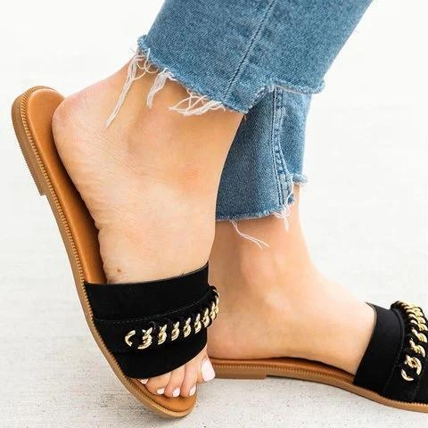 Women Flat Heel Casual Slides PU Plus Size Slippers