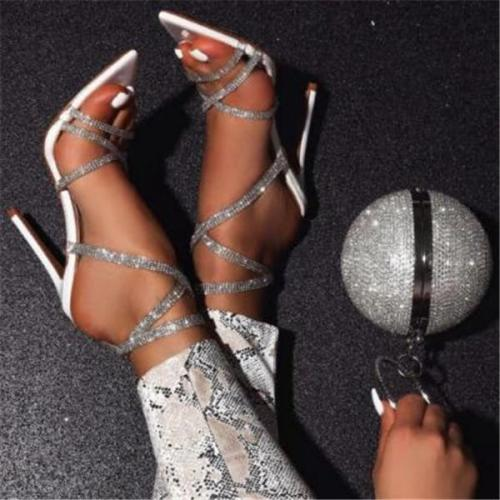 Women Fashion Pointed Rhinestone High Heels Sandals Shoes