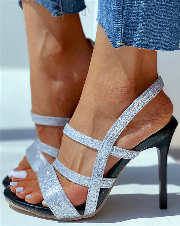 Solid Glitter Cutout Stiletto Heel
