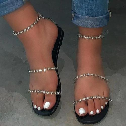 Ankle Strap Flat With Open Toe Slip-On Rhinestone Sandals