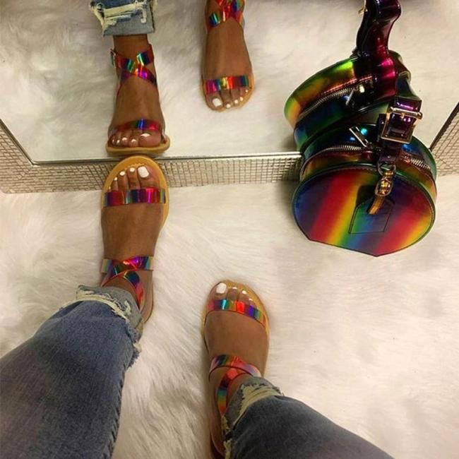 Women Daily Sexy Rainbow Buckle Strap Flat Heel Sandals