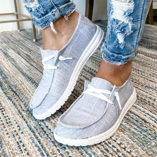 Women Classic Canvas Flat Low Top Slip on Loafers Sneakers