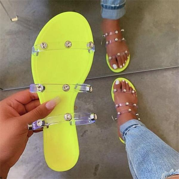 Studded Women Summer Fashion Transparent Slippers