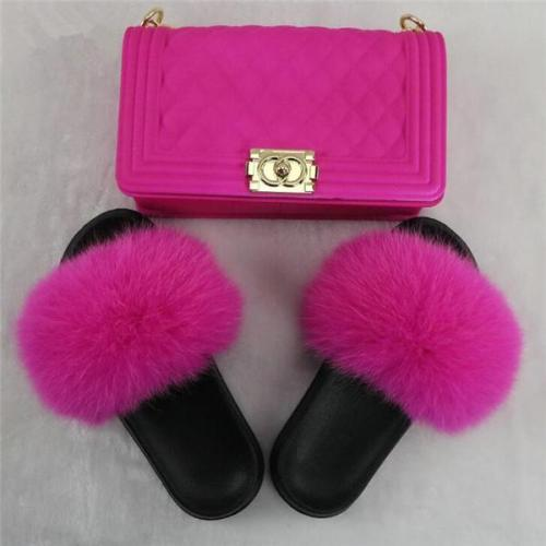Solid Fur Slides & Bag Set (Really Good Quality)
