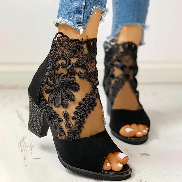 Mesh Insert Chunky Heeled Sandals
