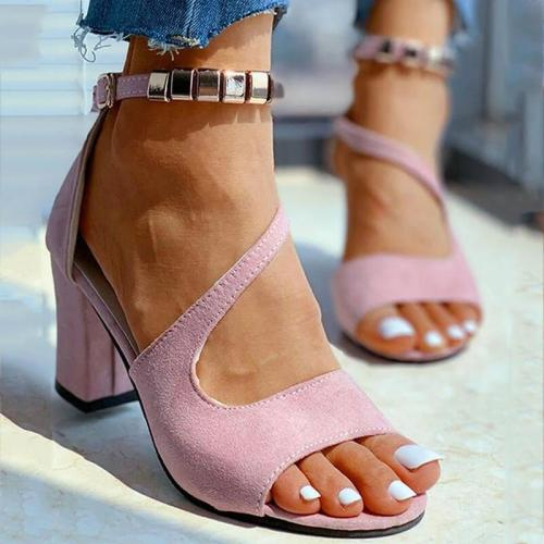 Women Summer Metal Ankle Strap Open Toe Buckle Chunky Heel Sandals