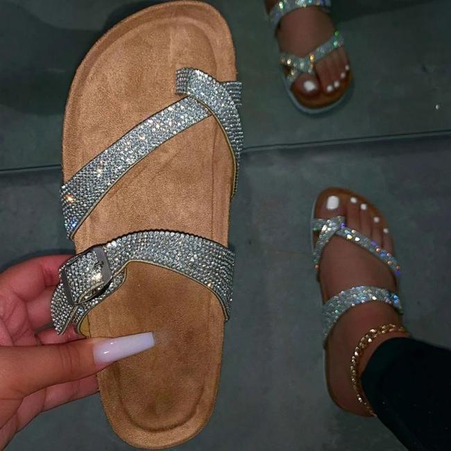 Summer Artificial Leather Rhinestone Flat Heel Slippers