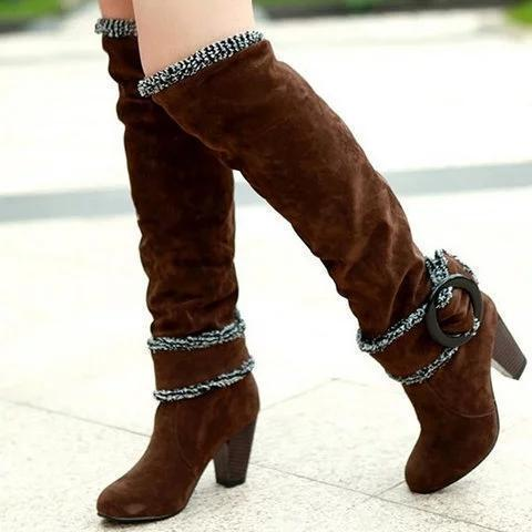 Casual Warm Suede Leather High Heel Boots For Women