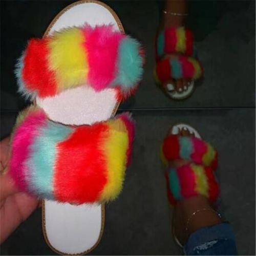 Women Summer Seaside Fluffy Fluff Flat Sandals