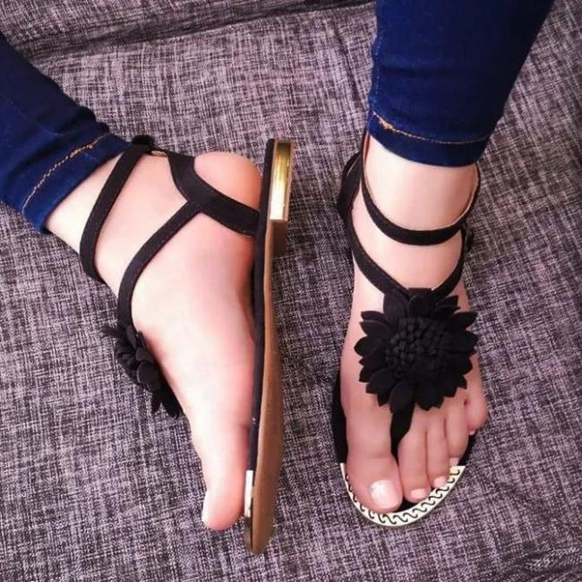 Flower Lace Up Sandals