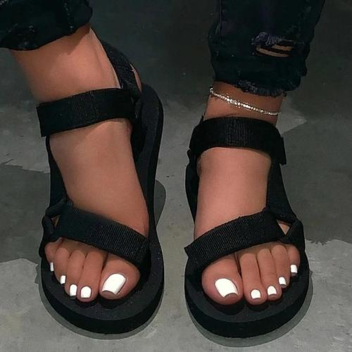 Flat With Open Toe Ankle Strap Velcro Plain Sandals