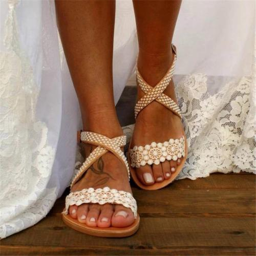 Women's Wedding Pearl Lace Open Toe Buckle Strap Flat Heel Sandals