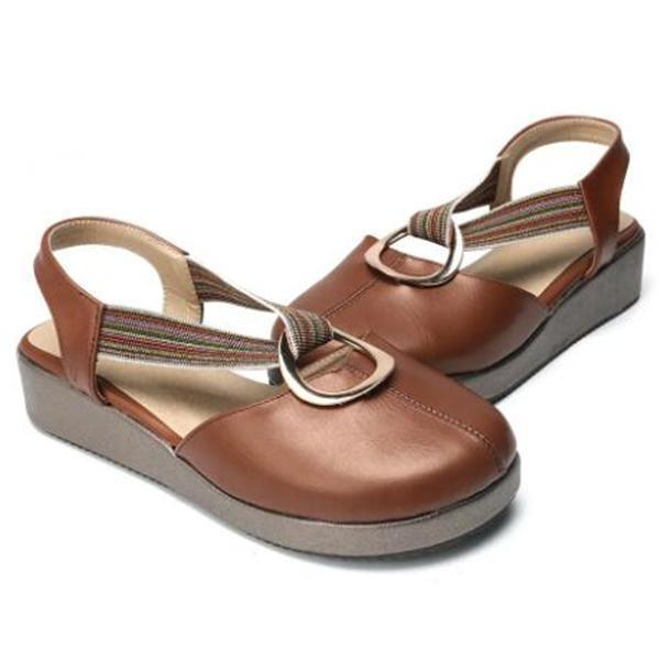Large Size Women Casual Closed Toe Elastic Band Flat Sandals