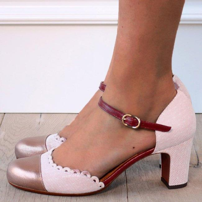 Women Fashion Chunky Heel Buckle Strap Pumps Sandals