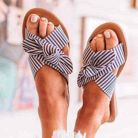 Women Summer Bowknot Stripe Sandal